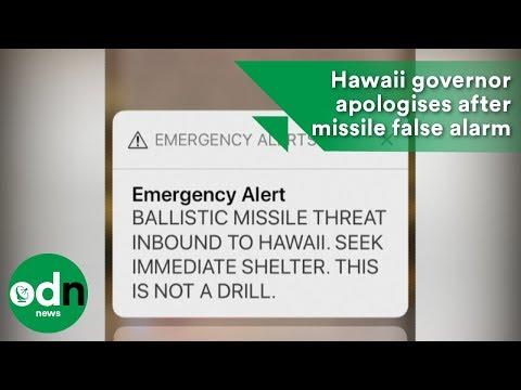 Hawaii governor apologises after missile false alarm