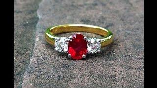 1 carat Vivid Red Burmese Ruby & Diamond Engagement Ring set in 18K Gold from Bangkok, Thailand