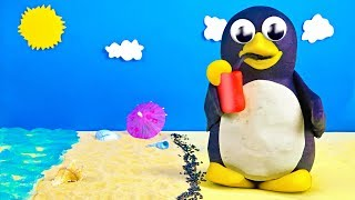 Play Doh Penguin Cartoon Skateboard Adventure On The Beach Stop Motion For Kids