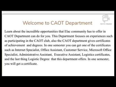 Welcome to East Los Angeles College. CAOT Department