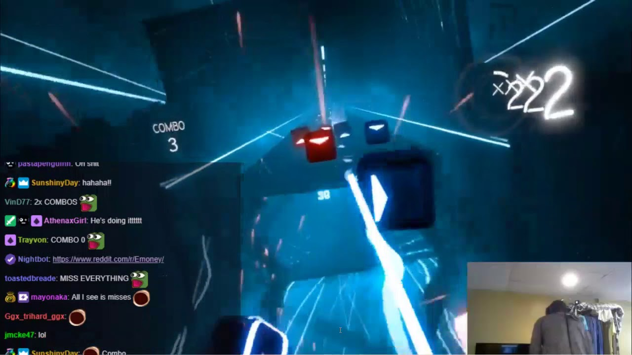 Erobb221 Play Beat Saber VR On Expert Mode With Chat