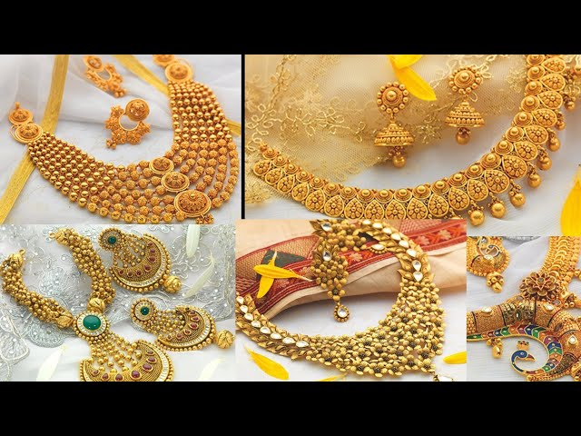 Gold Necklace jewellery design with source of order   Sone ki new jewellery design   Gold necklace