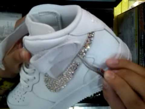 Bling Swarovski Nike Air Force 1 Mid By E2 CARS(ADIDAS PUMA REEBOK NEW  BALANCE) - YouTube 04f6a0a724b6