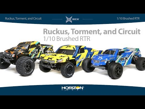 ECX 1/10 Brushed RTR Torment SCT, Circuit Stadium Truck, and Ruckus Monster Truck