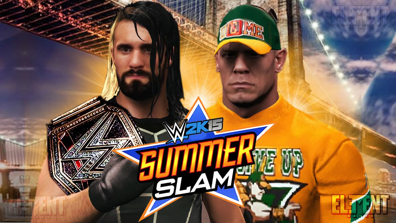 Summerslam 2015 john cena vs seth rollins wwe amp us title wwe 2k15