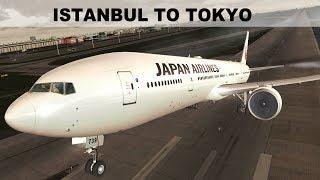 [FSX] LONG HAUL FLIGHT ISTANBUL (LTBA) TOKYO (RJTT) | JAPAN AIRLINES  B777W | IVAO LIVESTREAM