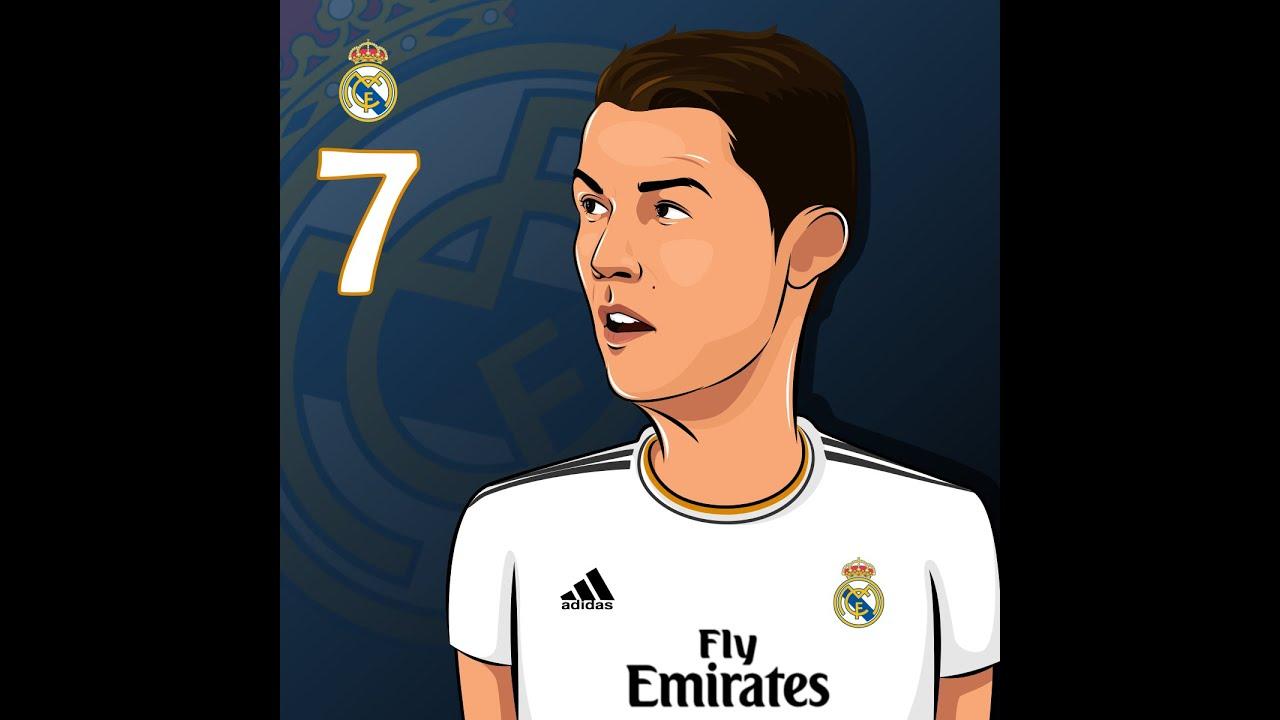 How To Draw Simple Cartoon Cristiano Ronaldo Youtube