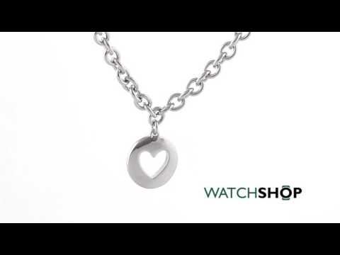 Guess Jewellery Ladies' Rhodium Plated G Girl Coin Heart Necklace (UBN51430)