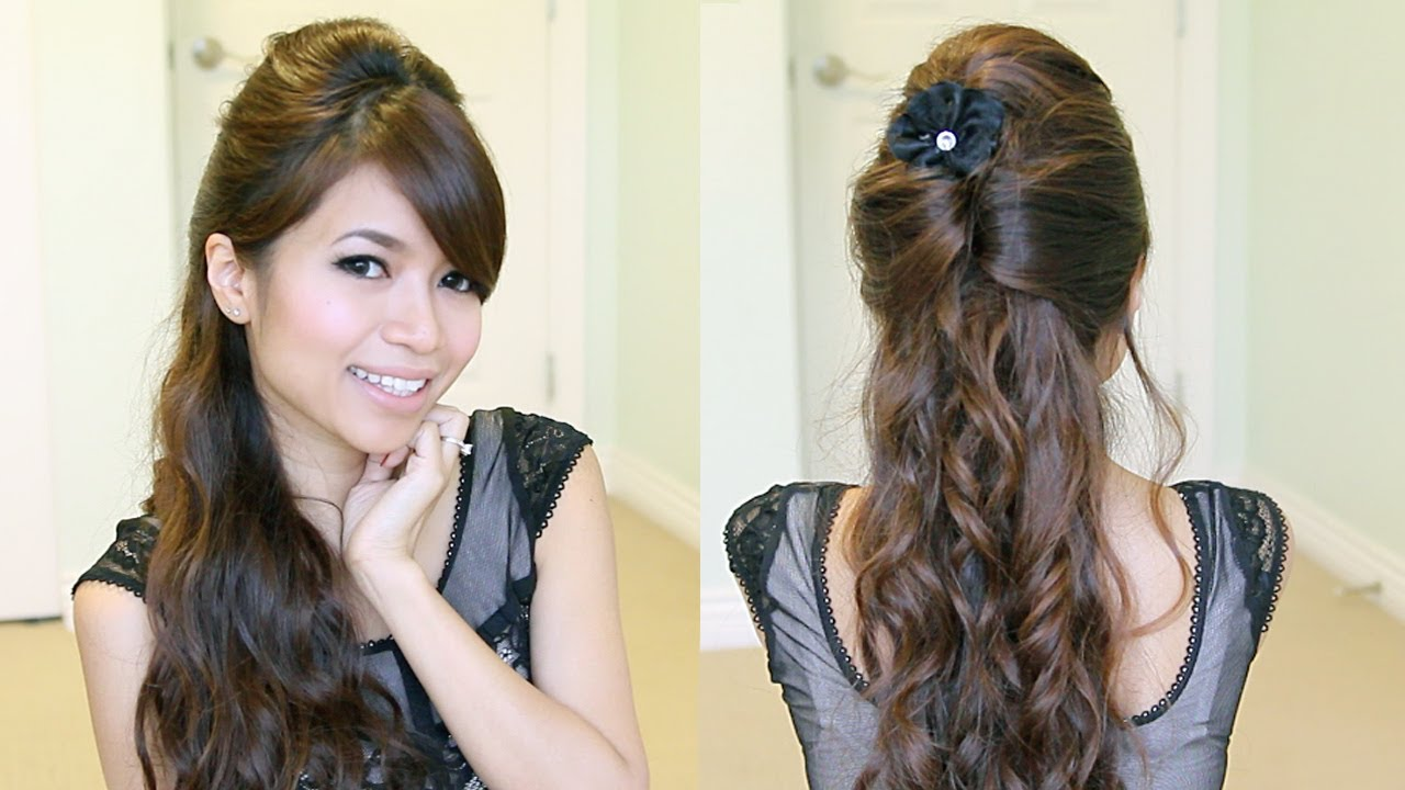 Elegant Prom Half Updo Hairstyle Curly Hair Tutorial Bebexo