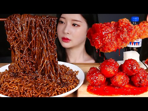 짜장라면 매운양념치킨 먹방/BLACK BEAN NOODLES & SPICY FRIED CHICKEN MUKBANG Mie kacang hitam, Ayam goreng pedas