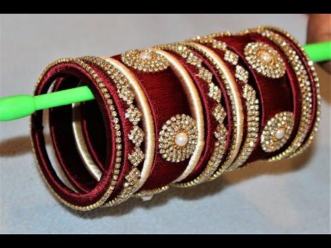 How to make designer silk thread Designer Bridal bangles at Home ||