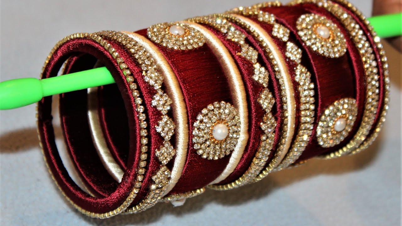 How to make designer silk thread Designer Bridal bangles ...