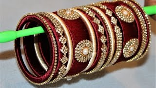 How to make designer silk thread Designer Bridal bangles at Home ||