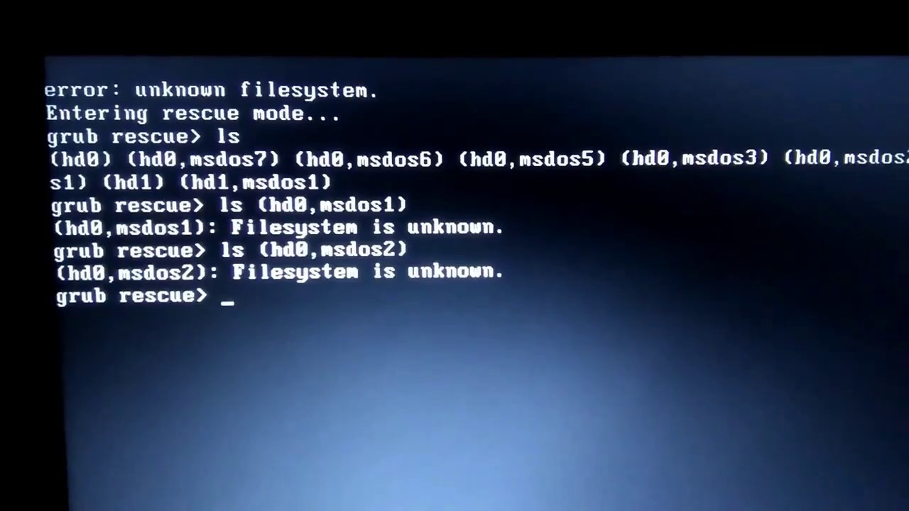 How to fix Unknown filesystem error (gurb rescue)