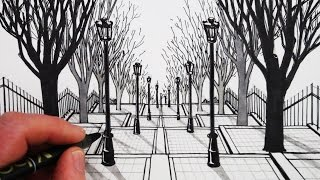 How to Draw 1-Point Perspective: Draw a View of Steps and Trees