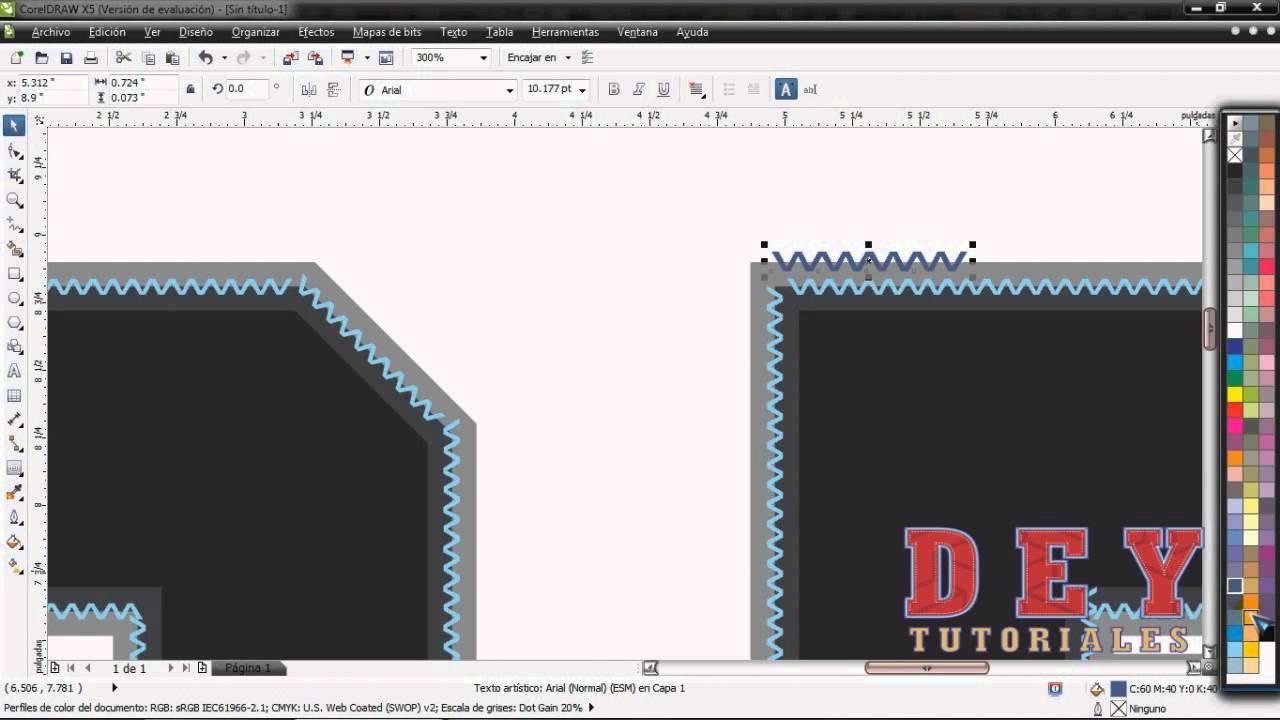 Texto con efecto bordado, en Corel Draw - YouTube