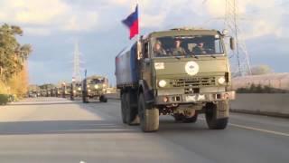 Доставка гуманитарной помощи жителям восточного Алеппо автоколонной российского Центра примирения