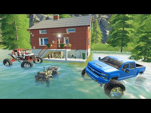 Huge storm floods our house | Camping and mudding | Farming Simulator 19