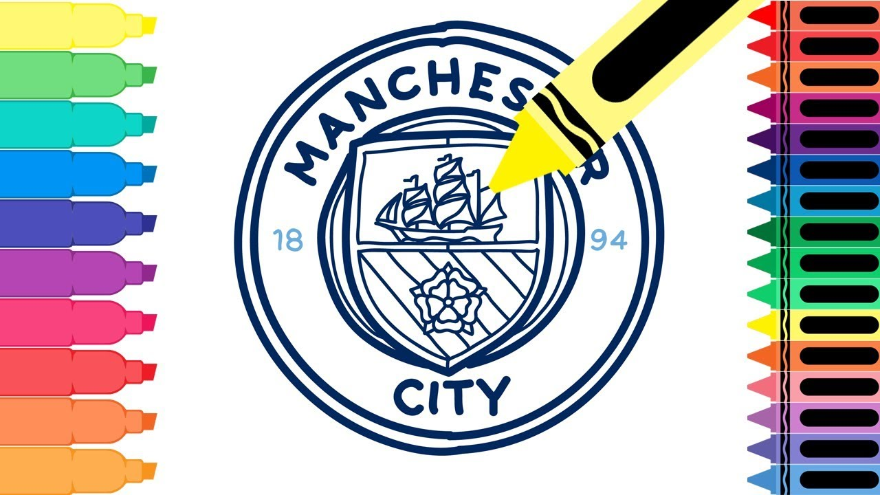How To Draw Manchester City Fc Badge Drawing The Man City Logo For Kids Tanimated Toys Youtube