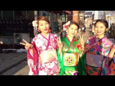 Chinese beautiful girls enjoyed kimono experence at Hakodate.