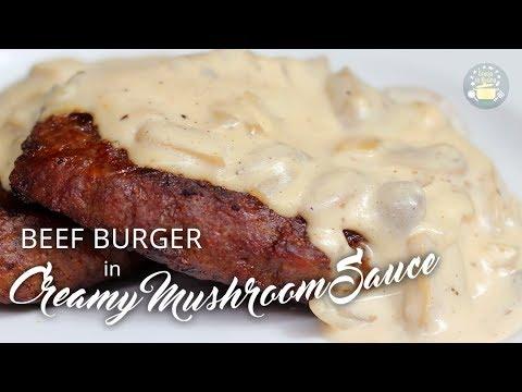 Beef Burger With Creamy Mushroom Sauce