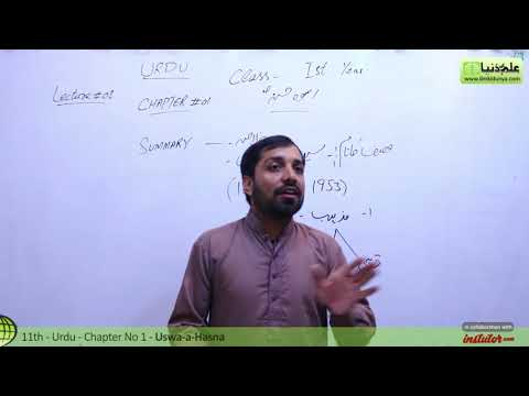First Year Urdu,Chapter 1,lec 1,Summary & Explanation-Uswa-e-Hasna -11th class Urdu