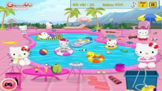 Hướng dẫn chơi game Hello Kitty dọn bể bơi - Hello Kitty Messy Swimming Pool trên Game Vui