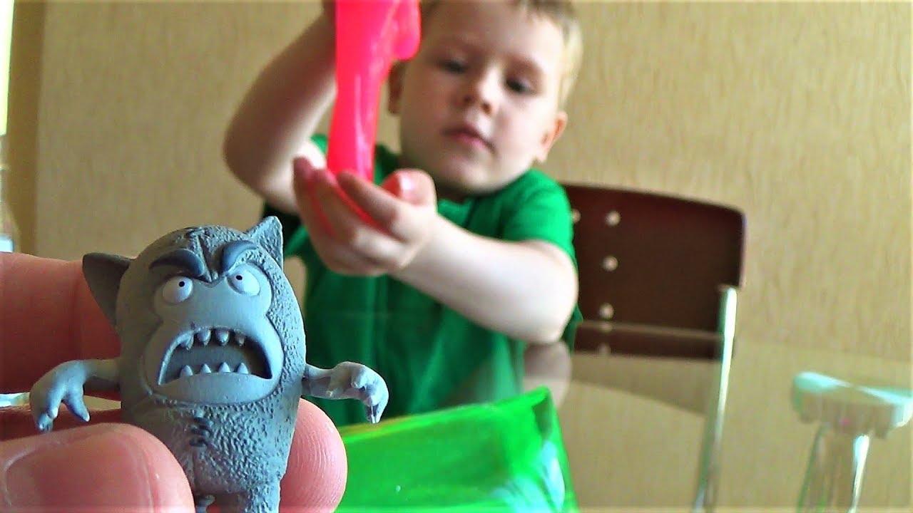 распаковка oddbods сюрпризы игрушки для детей слизь скользун и новая игрушка