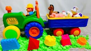 Синий трактор едет на ферму | Играем с синим трактором и учим домашних животных