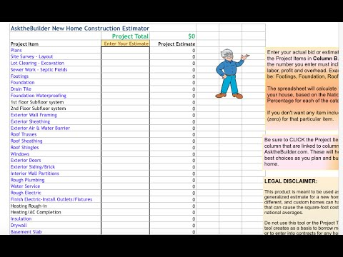 New Home Construction Cost Estimator Tool