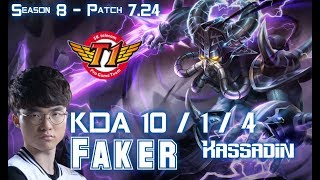 SKT T1 Faker KASSADIN vs RYZE Mid - Patch 7.24 KR Ranked