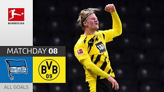 4 Goals! Golden Boy Haaland Unstoppable | Hertha Berlin - Borussia Dortmund | 2-5 | All Goals | MD 8