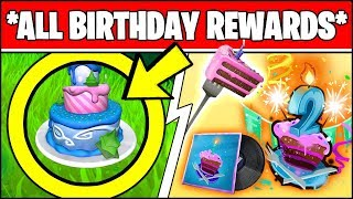 FORTNITE 2ND BIRTHDAY EVENT *RIGHT NOW* (EARLY BIRTHDAY CAKE LOCATIONS & ALL FREE REWARDS)