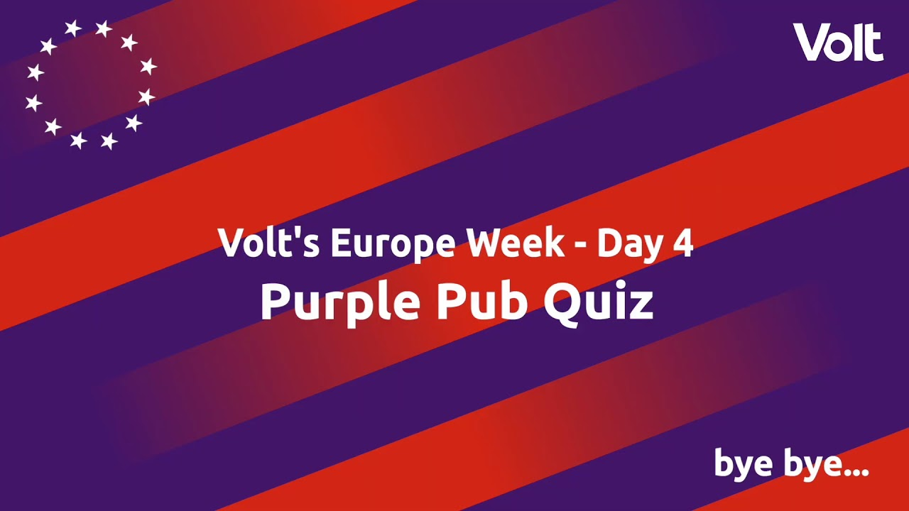 YouTube: Volt's Europe Week: Purple Pub Quiz