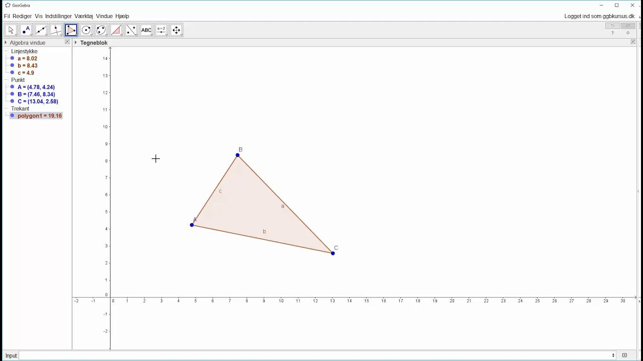Opstartsøvelse - Afsæt en vilkårlig trekant