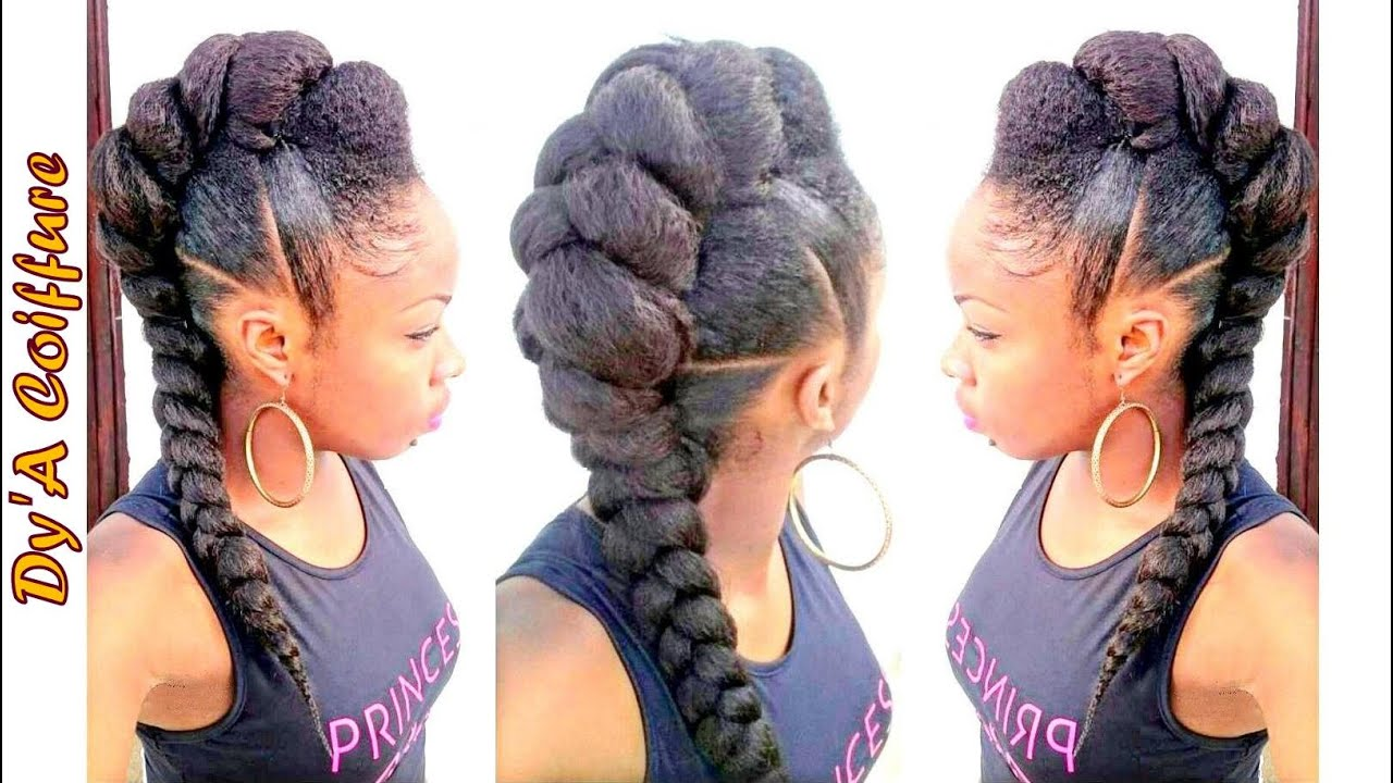 DIY ★ Mohawk / Faux hawk style with a jumbo braid - By Dy'A - YouTube