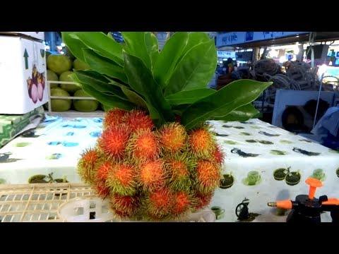 Street Food in Bangkok, Exotic Fruits in Thailand, Or Tor Kor Market