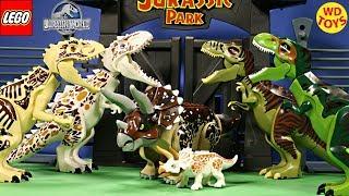 11 Lego Jurassic  überraschen Dinosaurier Spielzeug  Indominus Rex vs T-Rex Stop Motion Unbox