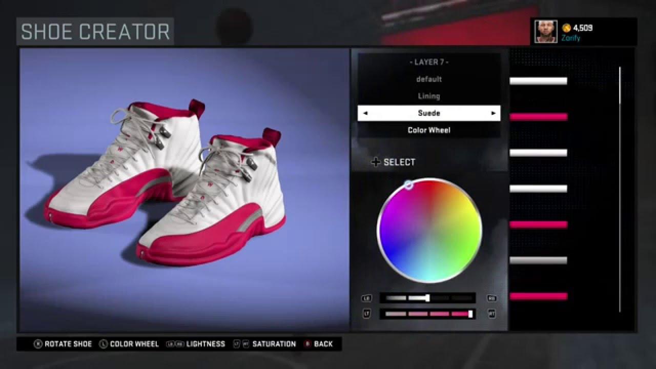 Nba 2k16 Shoe Creator Air Jordan 12 Valentines Day Youtube