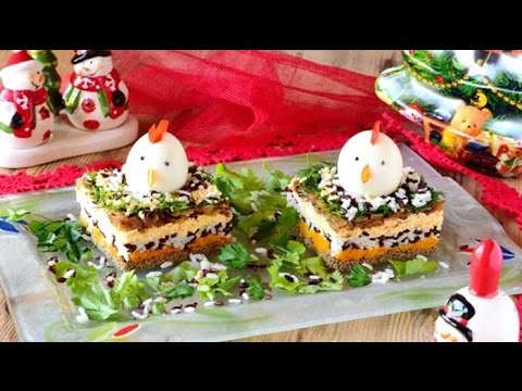"""Печеночный праздничный салат """"Петушок"""""""