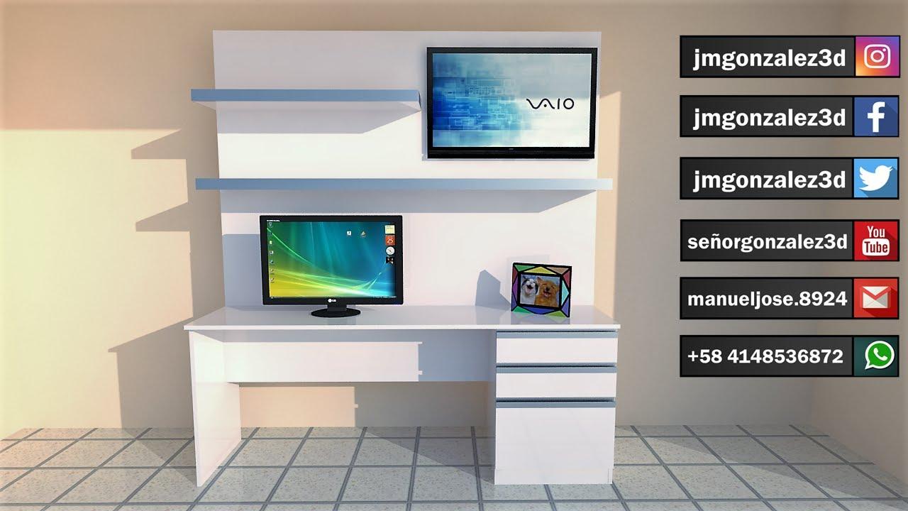 escritorio para computadora con repisas y espacio para tv