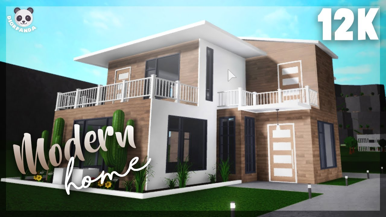 Roblox Bloxburg 2 Story Modern Home Exterior Youtube | 2 Story House With Stairs Outside | Dark Grey | Traditional | Roof Terrace | Unique | Covered Deck