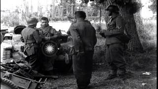 US 82nd Airborne Division soldiers round up and interrogate German prisoners in S...HD Stock Footage
