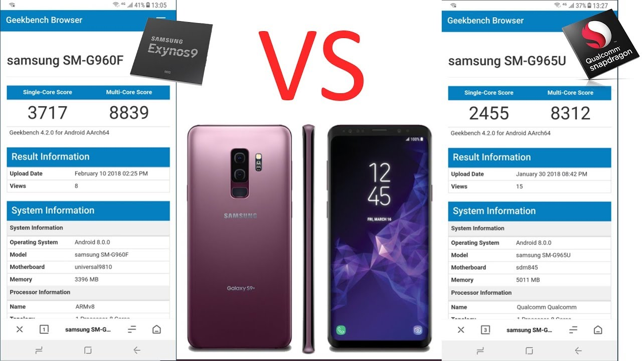Exynos 9810 VS Snapdragon 845 : Galaxy S9 Benchmarks and the Galaxy Note 9