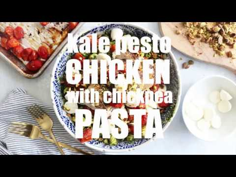 Kale Pesto Chicken with Chickpea Pasta Recipe// LOW CARB + GLUTEN FREE