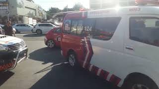 Taxi collides with traffic light on Jan Smuts and Waterfall avenues