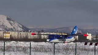 Колымская авиация. Самолет L410 в Сусуманском аэропорту. Магаданская область. Споттинг
