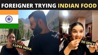 Foreigner trying INDIAN FΟOD for the First Time   INDIAN FOOD reaction By a Tajikistan Girl