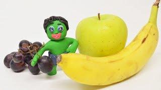 Green Baby make HEALTHY FROZEN YOGURT - Stop Motion Cartoons For Kids