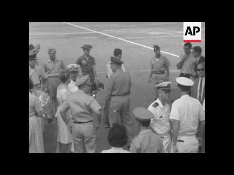 American Admiral Harry Felt arrives in Vietnam to confer with General Paul Harkins, one day before t